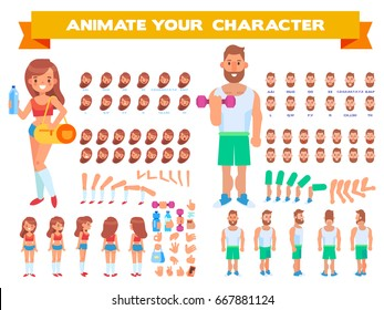 Front, side, back view animated characters. Man and female fitness couple creation set with various views,  face emotions, poses and gestures. Cartoon style, flat vector illustration.