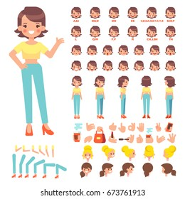 Front, side, back view animated character. Young woman character creation set with various views, hairstyles, face emotions, poses and gestures. Cartoon style, flat vector illustration.