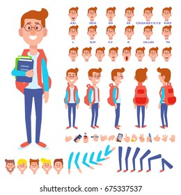 Front, side, back view animated character. Male Student character creation set with various views, hairstyles, face emotions, poses and gestures. Cartoon style, flat vector illustration.