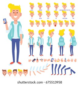 Front, side, back view animated character. Young guy with mobile character creation set with various views, hairstyles, face emotions, poses and gestures. Cartoon style, flat vector illustration.