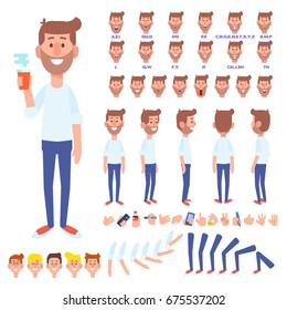Front, side, back view animated character. Bearded young man with coffee cup creation set with various views, hairstyles, face emotions, poses and gestures. Cartoon style, flat vector illustration.