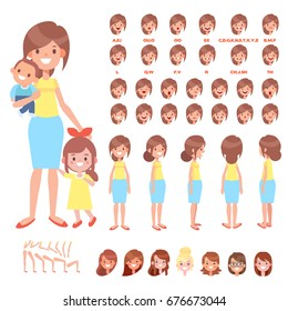 Front, side, back view animated characters. happy mother with kids creation set with various views and face emotions. Cartoon style, flat vector illustration.