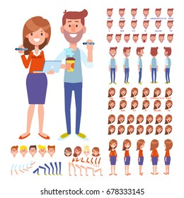 Front, side, back view animated characters. Man and female designers creation set with various views, face emotions, poses. Cartoon style, flat vector illustration.