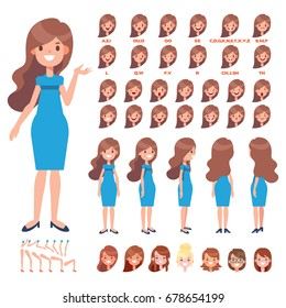 Front, side, back view animated character. Long hair woman in dress creation set with various views, hairstyles, face emotions, poses and gestures. Cartoon style, flat vector illustration.