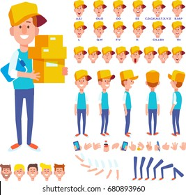 Front, side, back view animated character. Courier young man character creation set with various views, hairstyles, face emotions, poses and gestures. Cartoon style, flat vector illustration.