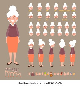 Front, side, back view animated character. Elderly woman character creation set with various views, hairstyles, face emotions, poses and gestures. Cartoon style, flat vector illustration.