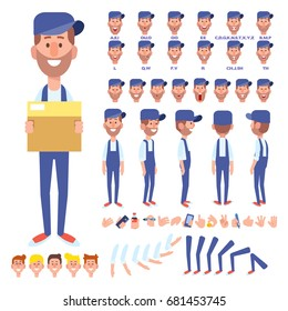 Front, side, back view animated character. Courier man character creation set with various views, hairstyles, face emotions, poses and gestures. Cartoon style, flat vector illustration.