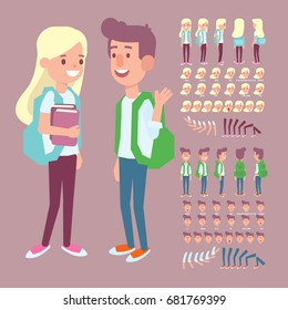 Front, side, back view animated character. Girl and boy friends  creation set with various views and  face emotions.  Cartoon style, flat vector illustration.