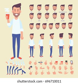 Front, side, back view animated character. Bearded man character creation set with various views, hairstyles, face emotions, poses and gestures. Cartoon style, flat vector illustration.