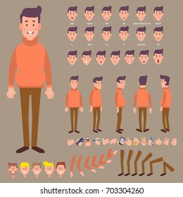 Front, side, back view animated character. Young guy character creation set with various views, face emotions and gestures. Cartoon style, flat vector illustration.