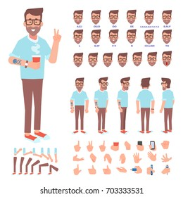 Front, side, back view animated character. Hipster man creation set with various views, face emotions and gestures. Cartoon style, flat vector illustration.