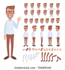 Front, side, back view animated character. Geek character creation set with various views, face emotions, poses and gestures. Cartoon style, flat vector illustration.