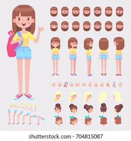 Front, side, back view animated character. Schoolgirl character creation set with various views, hairstyles, face emotions, poses and gestures. Cartoon style, flat vector illustration.