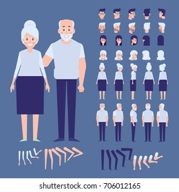 Front, side, back view animated characters. Elderly couple creation set with various views, face emotions. Cartoon style, flat vector illustration.