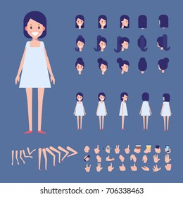 Front, side, back view animated character. Teenager Girl character creation set with various views, hairstyles and gestures. Cartoon style, flat vector illustration.
