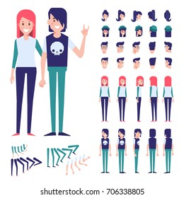 Front, side, back view animated characters. Teenagers characters creation set with various views and hairstyles.Cartoon style, flat vector illustration.