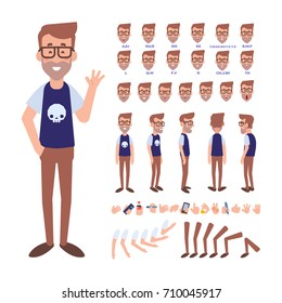 Front, side, back view animated character. Geek character constructor with various views, hairstyles, face emotions, poses and gestures. Cartoon style, flat vector illustration.