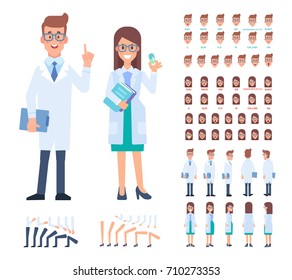 Front, side, back view animated character. Woman and man doctors constructor with various views, hairstyles, face emotions, poses. Cartoon style, flat vector illustration.