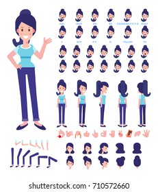 Front, side, back view animated character. Woman character creation set with various views, hairstyles, face emotions, poses and gestures. Cartoon style, flat vector