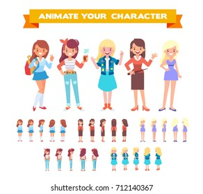 Front, side, back view animated female characters . Gardener, hipster girl, young woman, pretty lady in long dress, school girl. Cartoon style, flat vector illustration           .