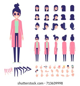 Front, side, back view animated character. Fashion girl character creation set with various views, hairstyles,  poses and gestures. Cartoon style, flat vector illustration