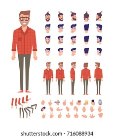 Front, side, back view animated character, separate parts of body. Fashionable bearded hipster constructor with various views, hairstyles, poses and gestures. Flat vector illustration.