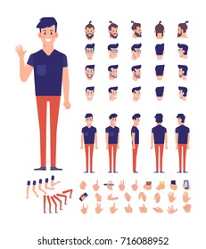 Front, side, back view animated character,separate parts of body. Young boy constructor with various views, hairstyles, poses and gestures. Cartoon style, flat vector illustration.