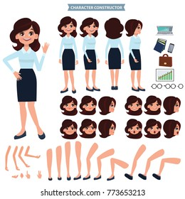 Front, side, back view animated character. Business woman character creation set with various views, hairstyles, face emotions, poses and gestures. Cartoon style, flat vector illustration.