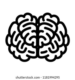 Front side brain icon. Outline front side brain vector icon for web design isolated on white background