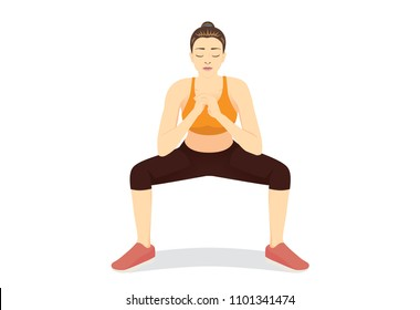 Front side of healthy woman doing Squat Exercises for the lower body. Workout woman full-body isolated on white.