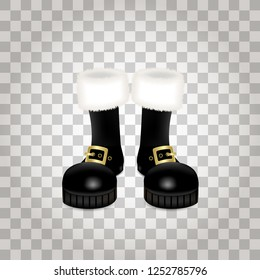 A front side of a pair of Santa Claus Christmas black high boots. Realistic vector illustration icon isolated on transparent background.