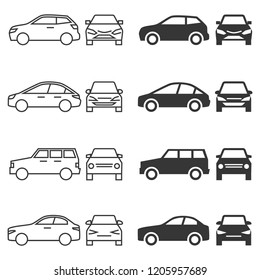 Front and side view car icons - line and silhouette cars isolated on white background. Vector illustration