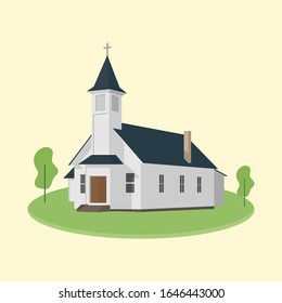 Front side view of a church with trees. Catholic christian church building . Christianity place of worship. Holy site. Small town chapel. Jesus Christ worship - Flat vector architecture illustration.