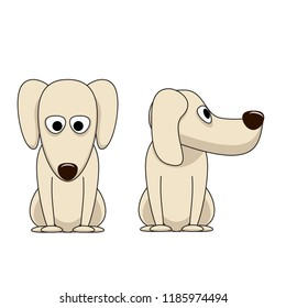 Front and side view of dog face. Cartoon character of dog