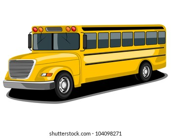 Front and side view of public transport retro styles Bus in yellow color, isolated on white background.