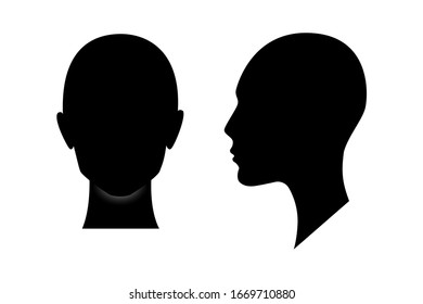 Front and side view silhouette of a woman head. Anonymous female person avatar.