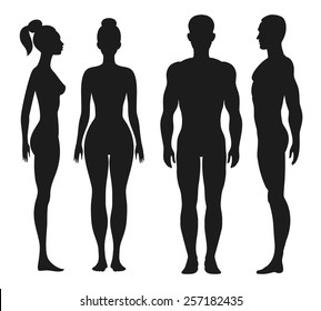 Front and side view silhouettes of man and woman. Face and profile human. Vector illustration, isolated on white background