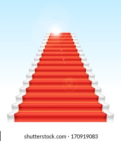 Front staircase and red carpet. On blue sky background. Vector illustration.