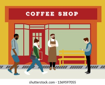 front store coffeshop on the street illustration