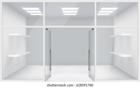 Front Store Shop Realistic Space Open Doors Shelves Template Mockup Background Vector Illustration
