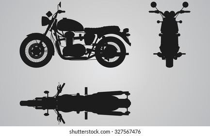 Front, top and side bike projection. Flat illustration for designing motorbikes icons
