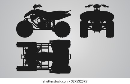 Front, top and side quad bike projection. Flat illustration set for designing motorbikes icons