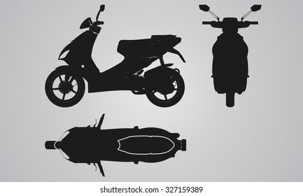 Front, top and side scooter projection. Flat illustration set for designing motorbikes icons