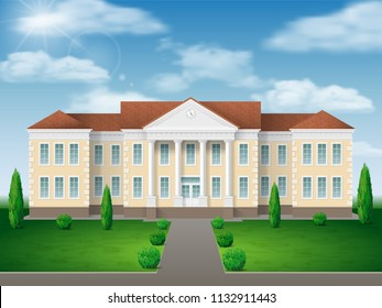 Front view of administrative, governmental, school or college building. Traditional classic architecture of building with beautiful entrance and columns.