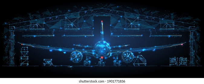 Front view of airplane in hangar in dark blue. Airplane maintenance, aircraft repair service concept. Abstract polygonal 3d wireframe looks like starry sky. Digital vector mesh with lines and shapes