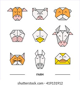 Front view animal heads. Animal polygonal heads. Vector low poly animals. Low poly line design icon set. Vector low poly animals for tattoo or coloring book. Low poly farm animals collection.