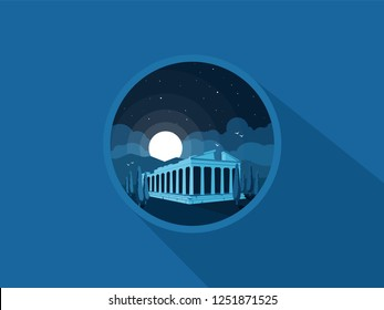 Front view of an antique greek temple. The Temple of Artemis. Column pillar landmark. Vector flat illustration.