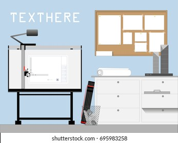 Front view of architect and engineer workplace drafting table, cabinet, cork board and model. Background design with space for text. Vector illustration.
