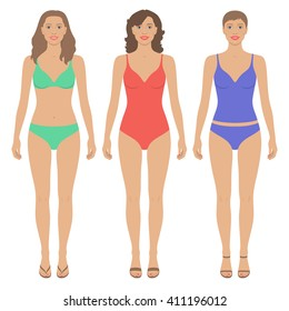 Front view of beautiful women with various hairstyle and in different colored swim wears. Vector body template of woman's figure. Paper dolls. Flat design.