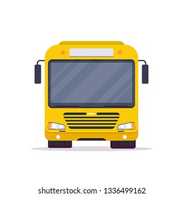 Front view of big yellow city bus. Flat style vector illustration. Vehicle and transport banner. Modern public transportation vehicle. Front view realistic bus.